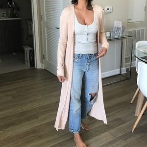 Light pink knit duster